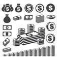 Money and coin icon set eps10 vector image