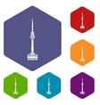 Namsan tower in Seoul icons set vector image