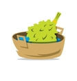 Oak Broom in the Basin for Russian bath vector image