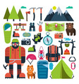 set flat icon mountaineering vector image