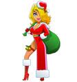 Sexy Blond Christmas Girl vector image