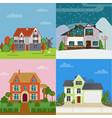 colorful suburban cottages flat concept vector image