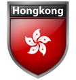 hong kong flag on badge vector image vector image