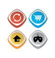 glossy color app icon button game asset theme set vector image