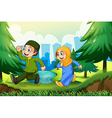 Muslim boy and girl in the park vector image vector image