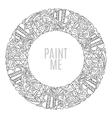 Hand drawn round frame decorative design elements vector image