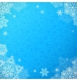 Blue snowy ornate background with snowflakes vector image