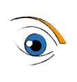 cute cartoon eye look emoticon icon vector image