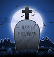 Old gravestone at night with happy halloween word vector image