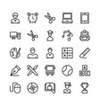 school and education line icons 3 vector image