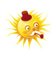 Senior sun character with pipe and in hat vector image