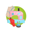 sewing icon tailor shop equipment cartoon vector image