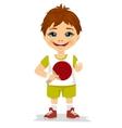 cute boy holding a table tennis racket vector image