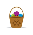 Basket with Yarn Cartoon vector image