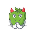 devil green apple character cartoon vector image