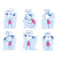 set of young girl emotions doodle hand draw vector image