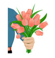the man gives flowers-01 vector image
