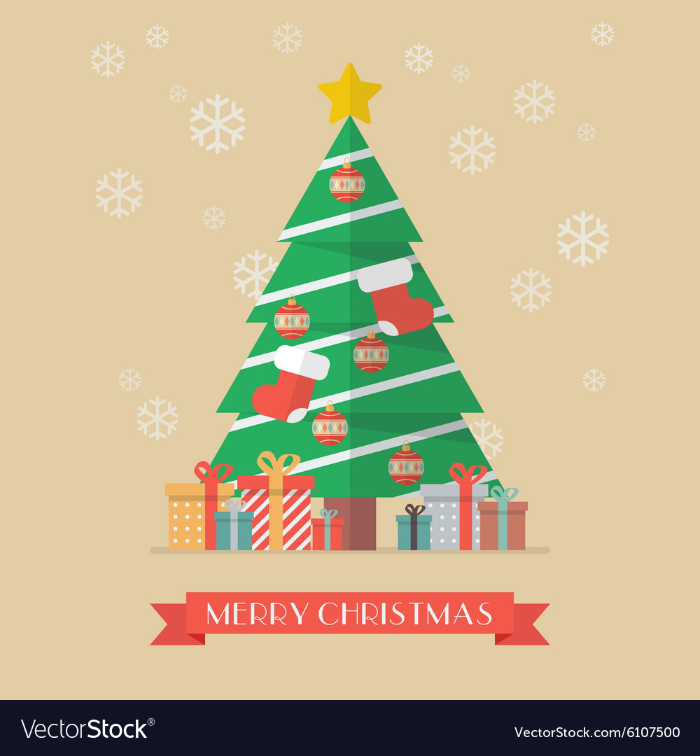 Christmas tree and presents vector