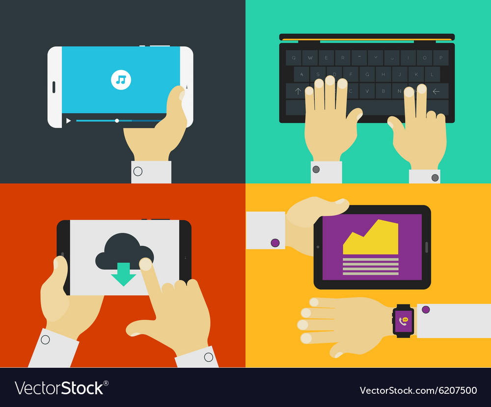 Hands and gadgets vector