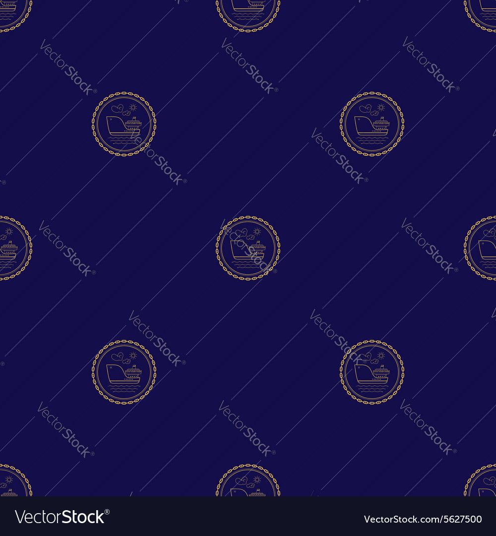 Seamless pattern with cargo ship vector