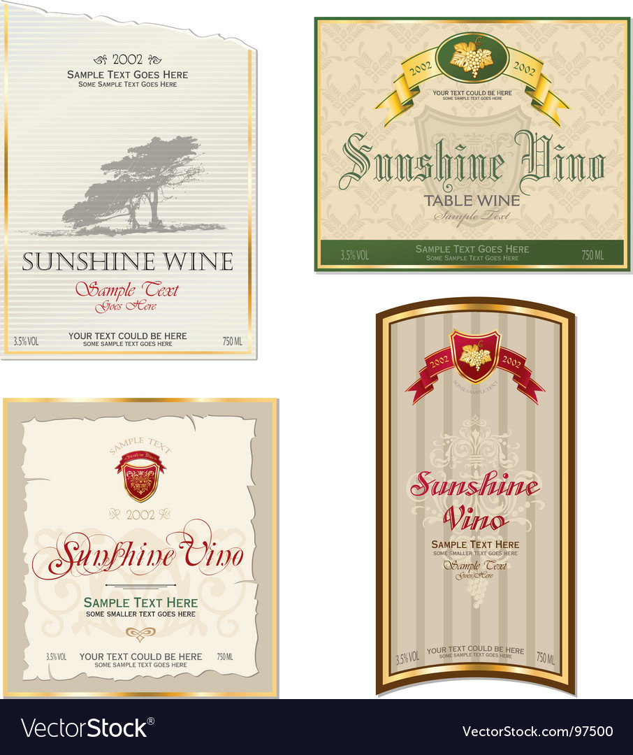 Vino stickers vector