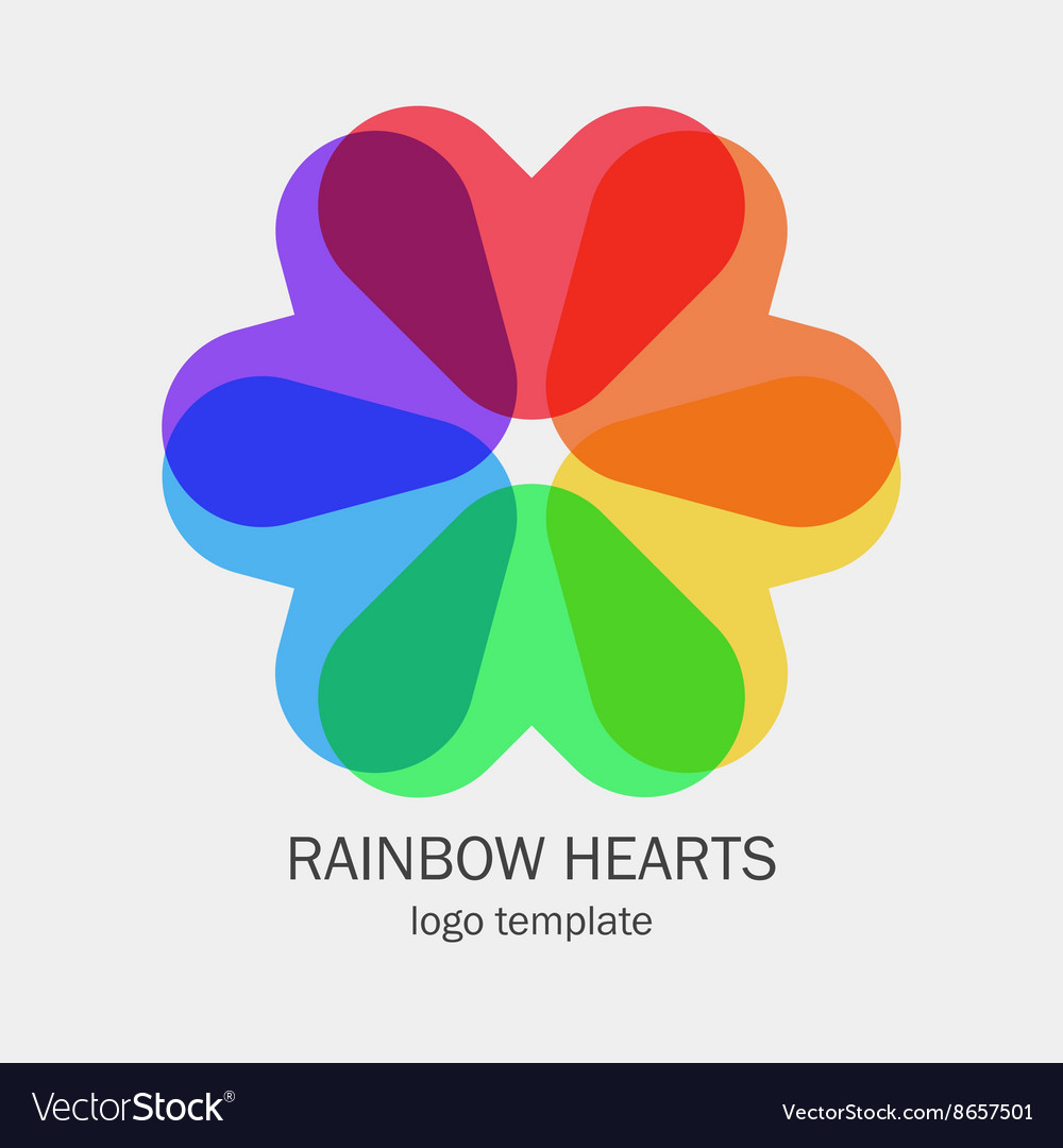 Conceptual single logo with a heart shapes vector