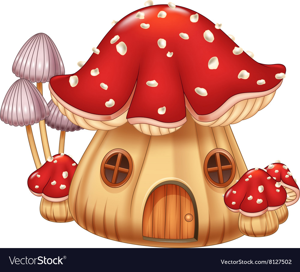Cartoon mushroom house vector