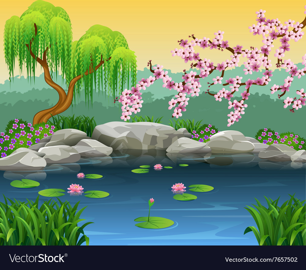 Cartoon of beautiful nature background vector