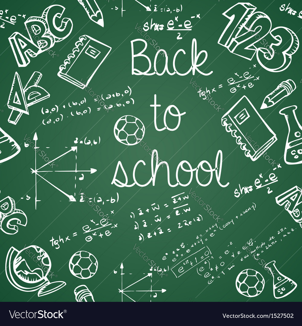 Education icons back to school green chalkboard vector