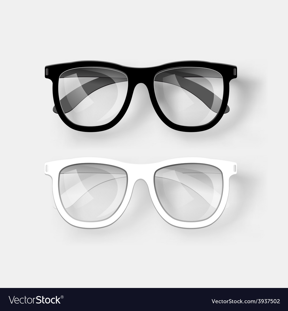 White and black glasses vector