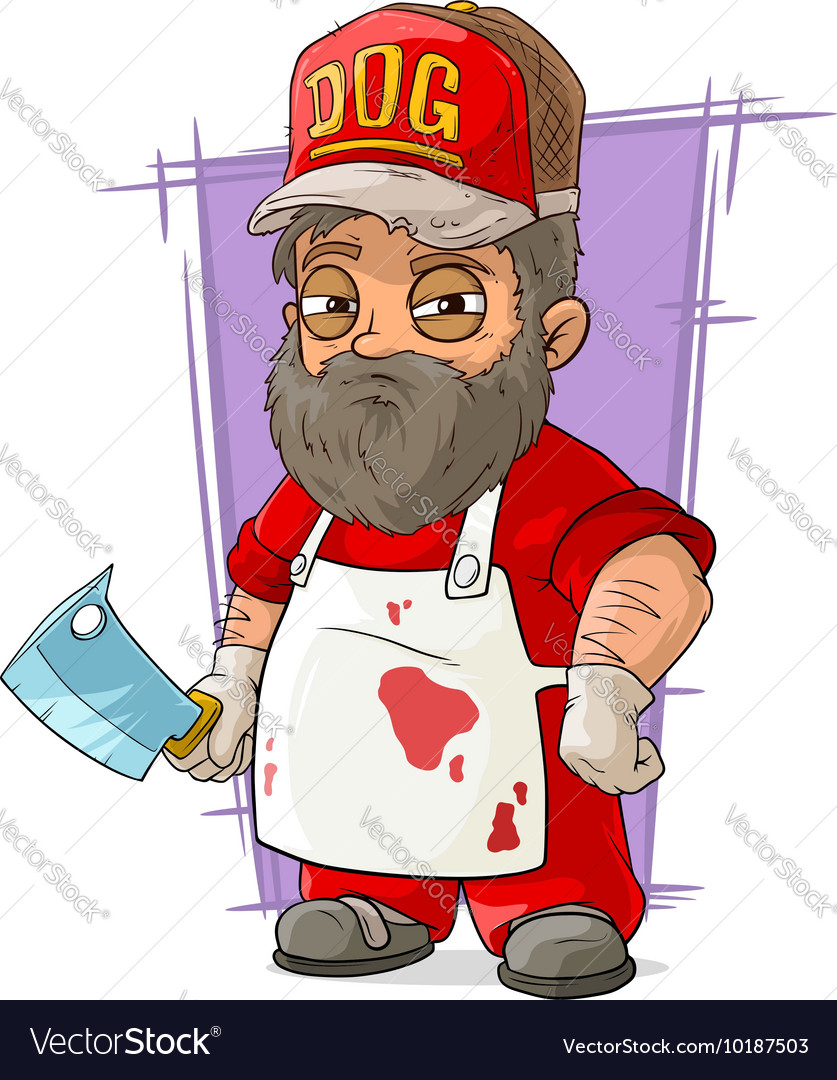 Cartoon big butcher in apron with backsword vector