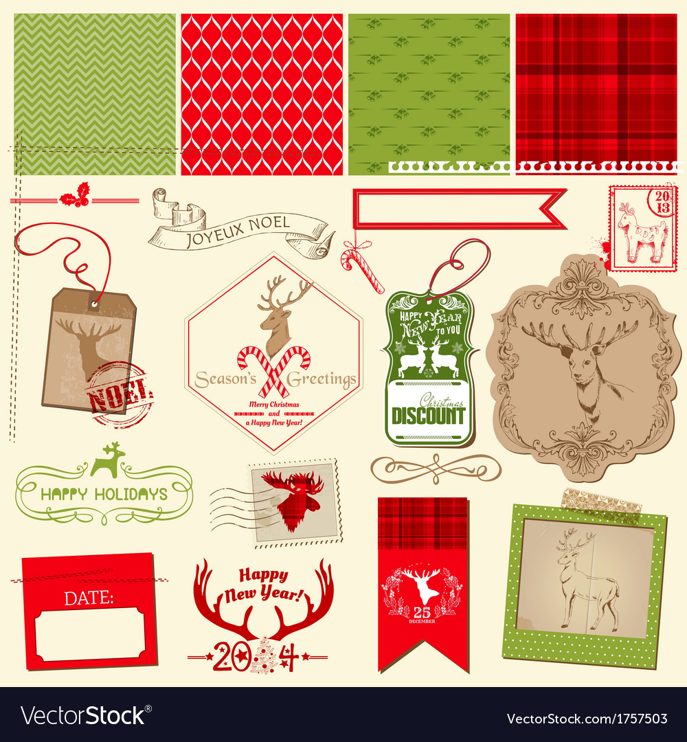 Christmas reindeer set vector