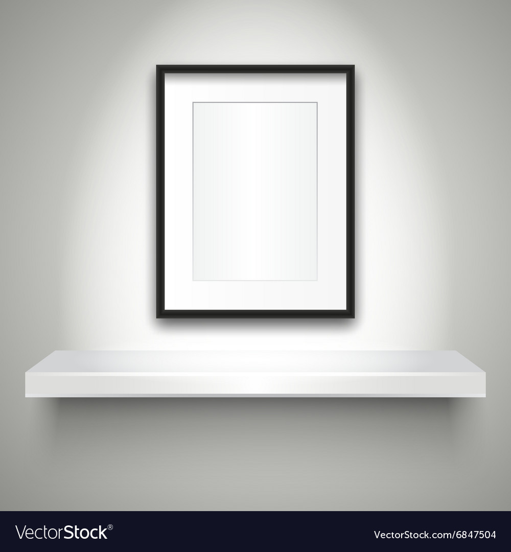Empty shelf on wall and blank frame vector