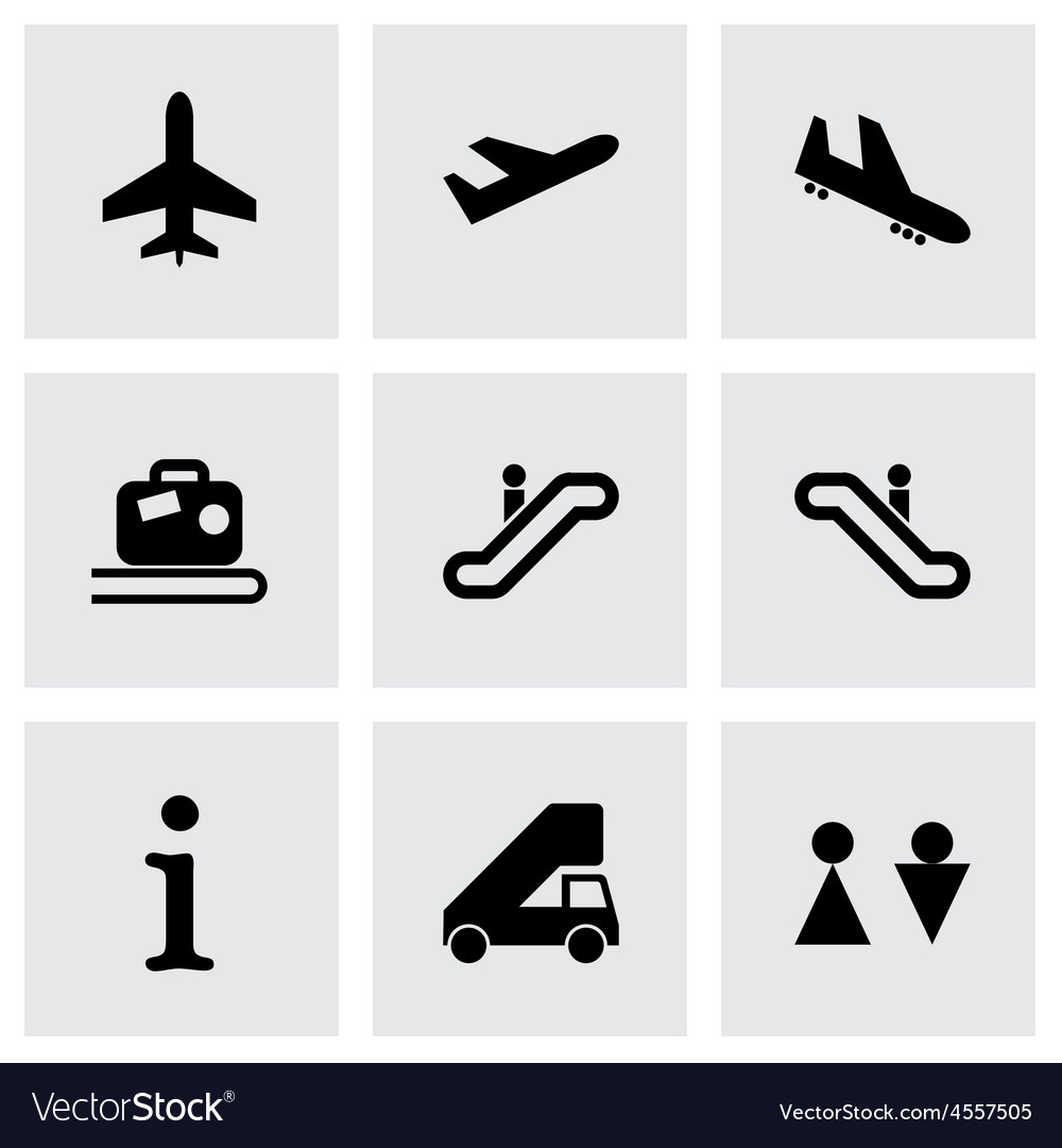Black airport icon set vector
