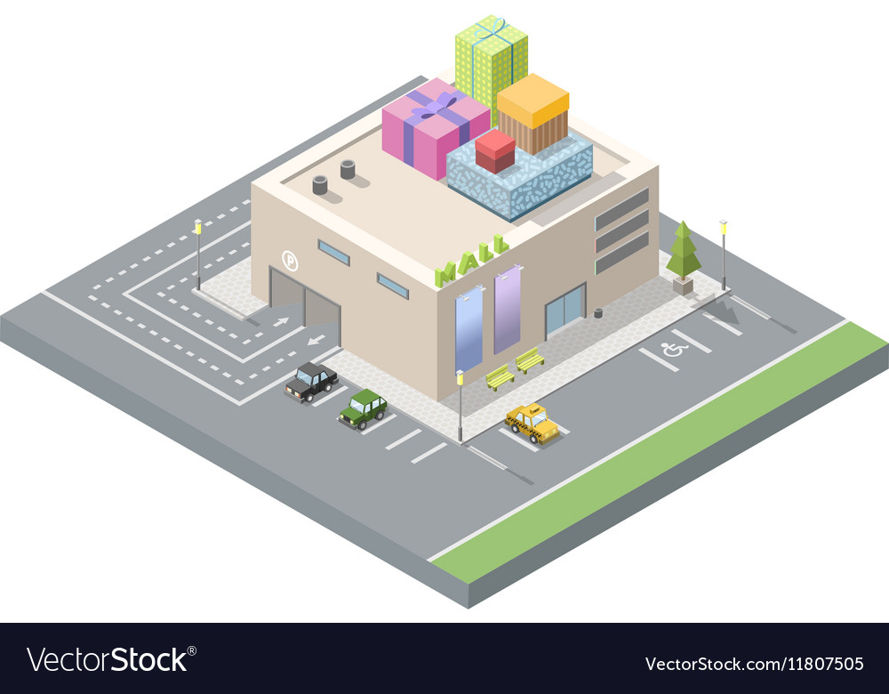 Isometric of mall with gift boxes on the roof vector