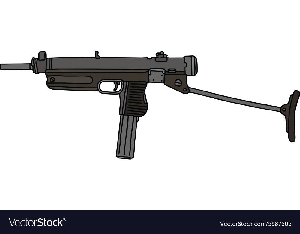 Old small automatic gun vector