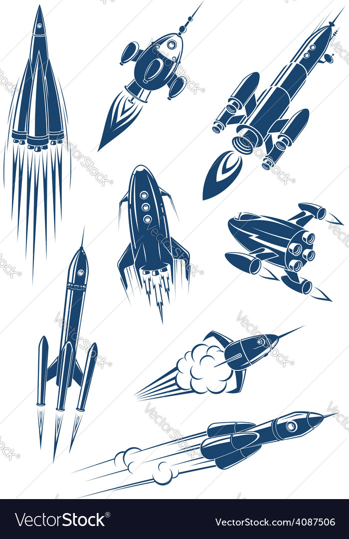 Cartoon spaceships and rockets in space vector