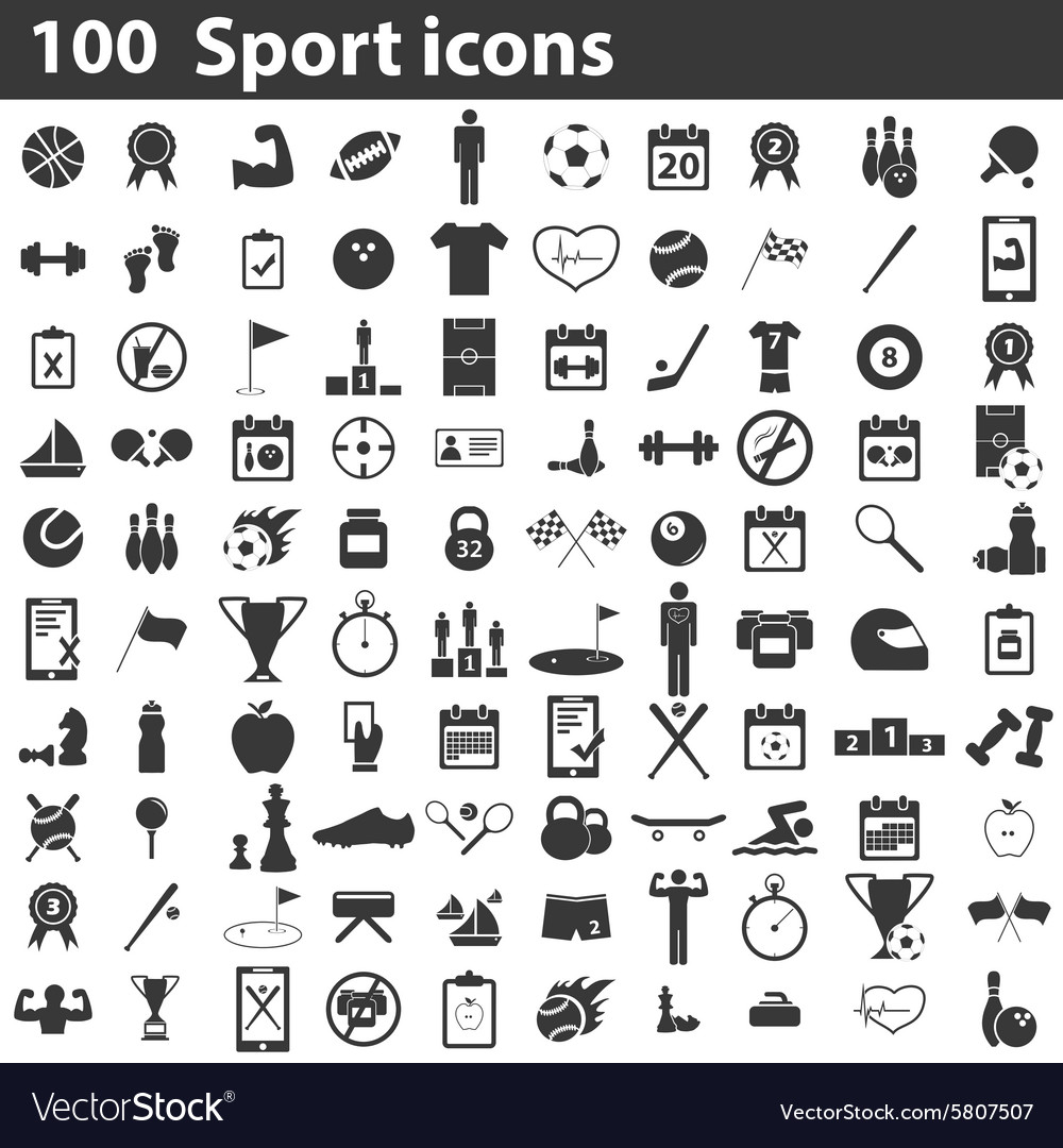 100 sport icons set vector