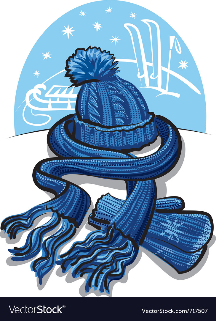 Winter clothing wool scarf mittens and hat vector
