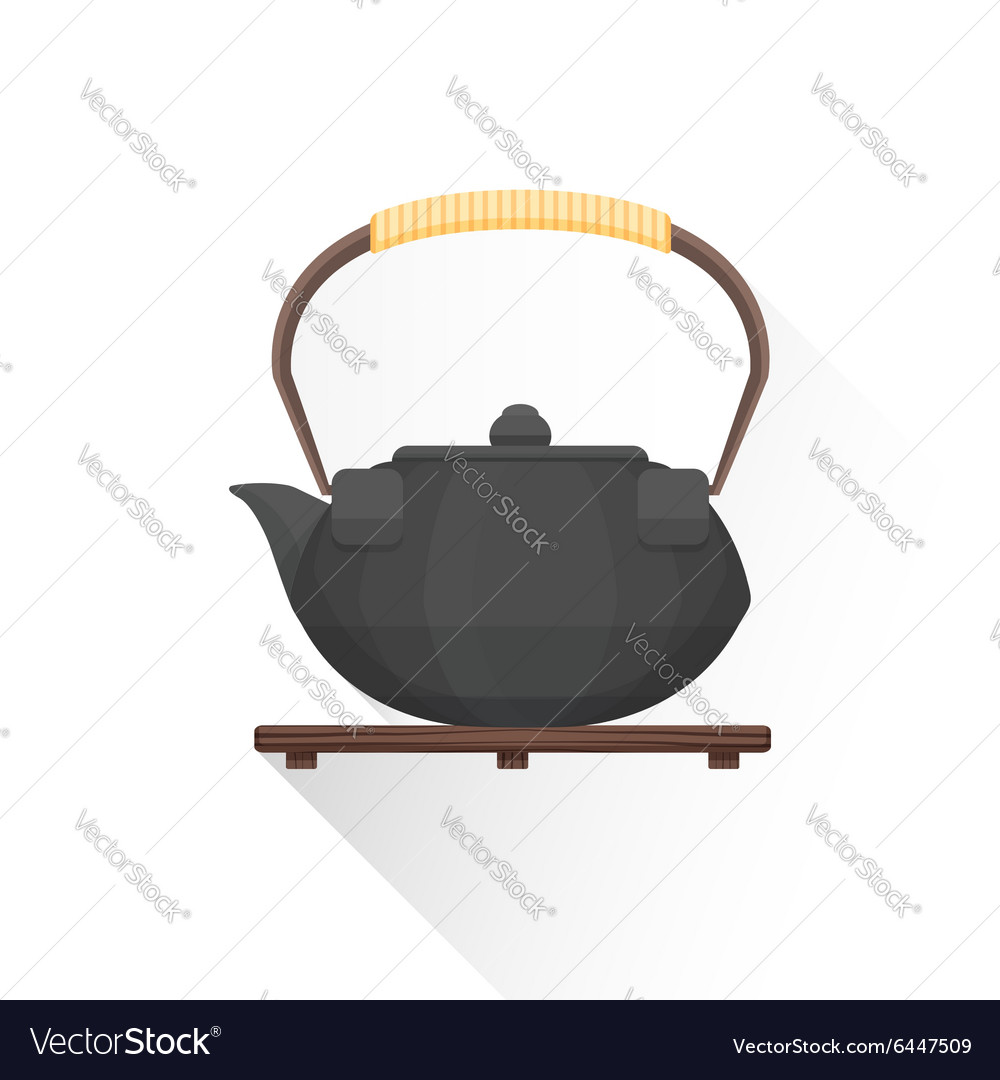 Flat asian tea iron kettle icon vector