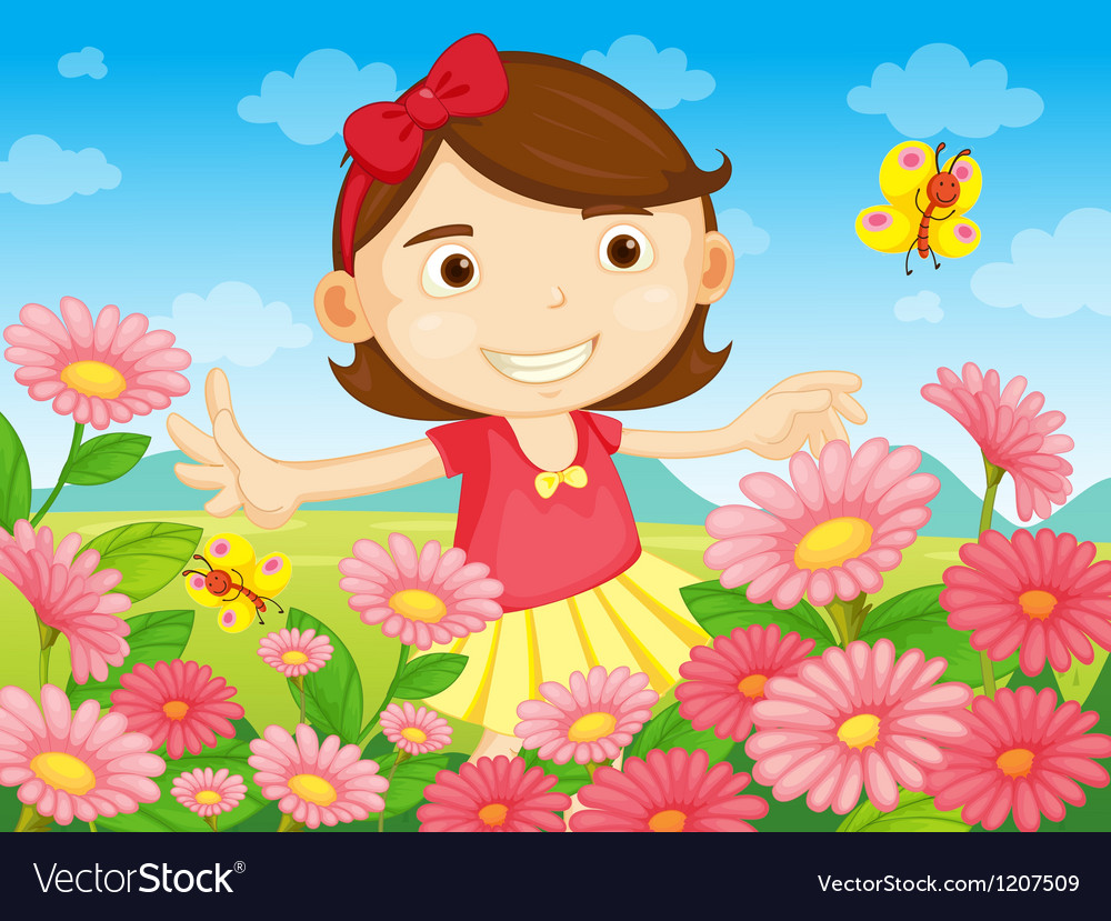 Flowers and the pretty woman vector
