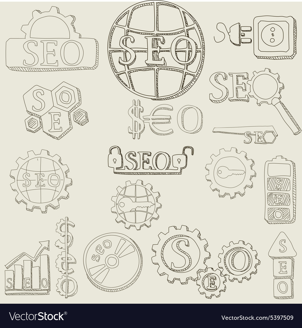Hand draw seo icons set vector