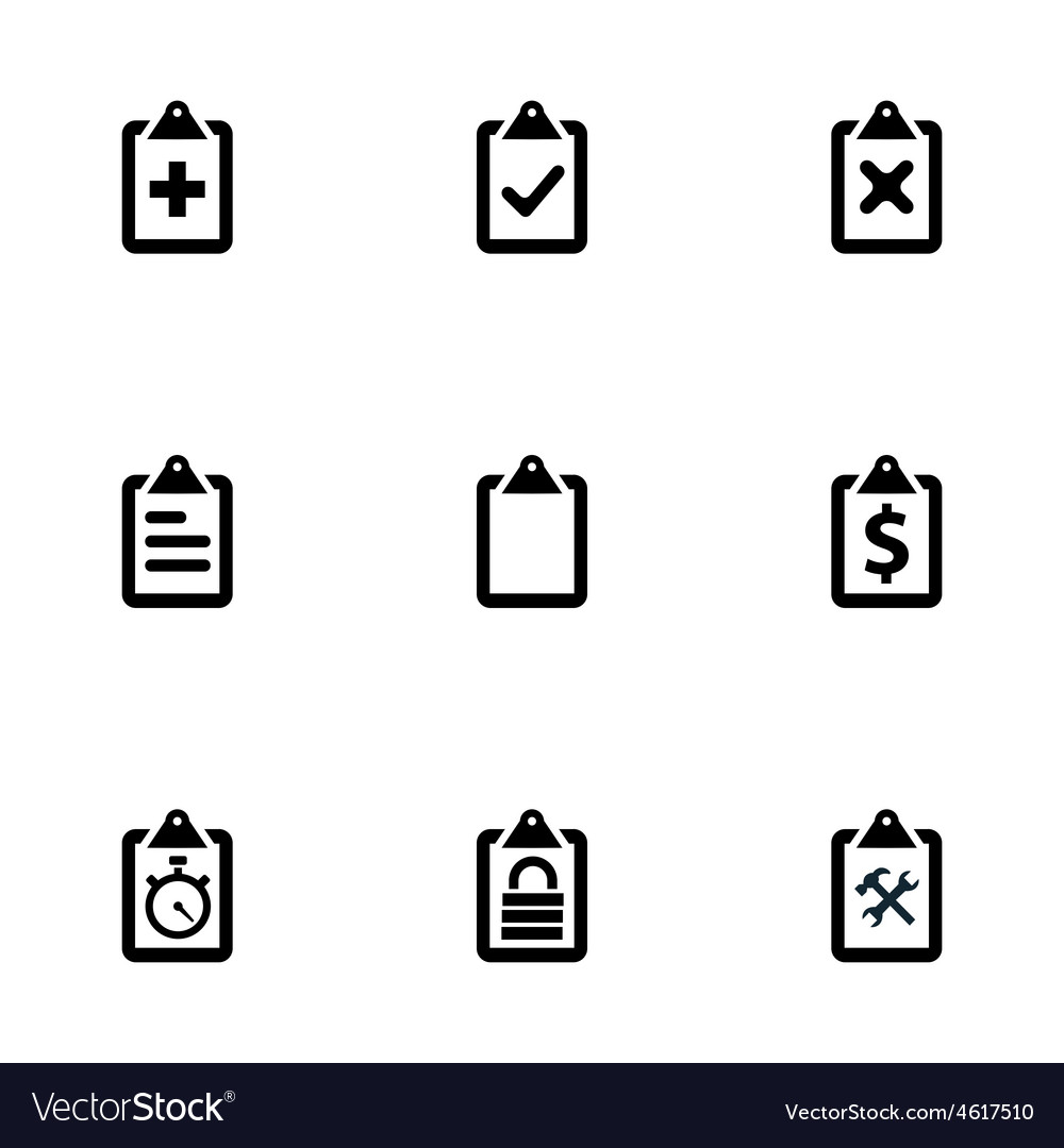 Clipboard icons set vector