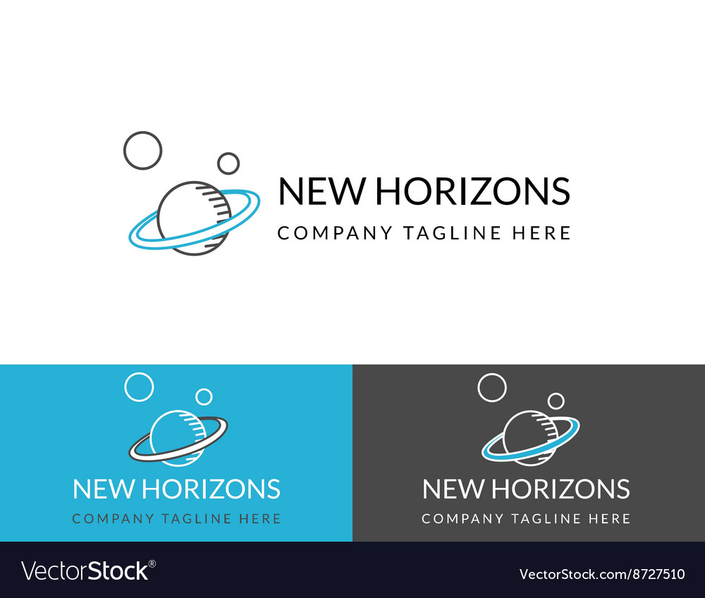 New horizons business logo design in three colors vector