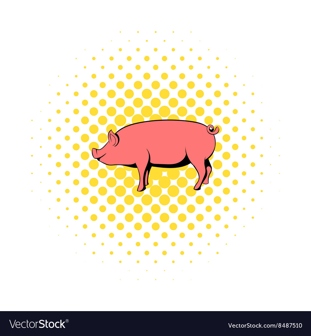 Pig icon in comics style vector