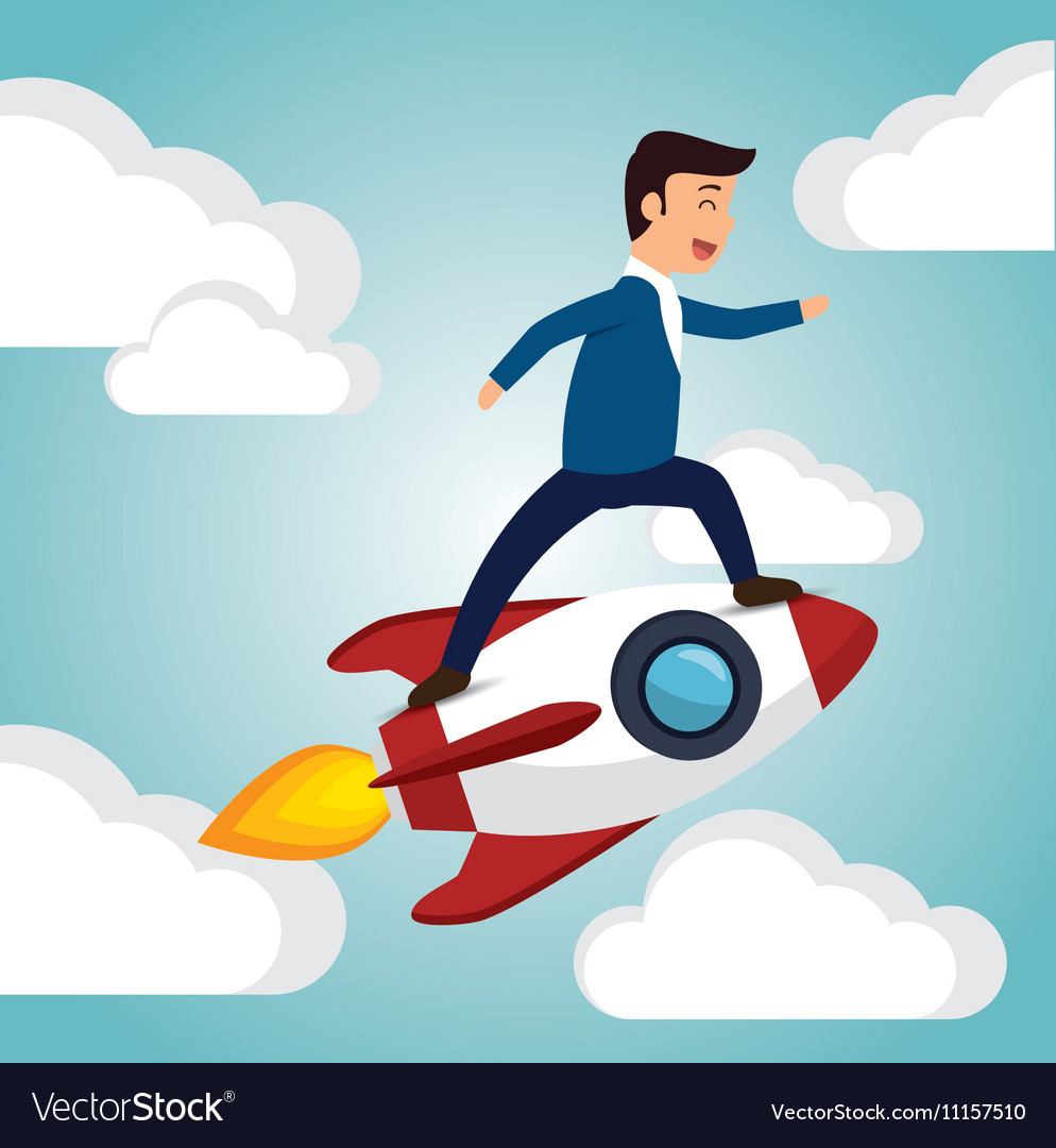 Startup launch man business design vector