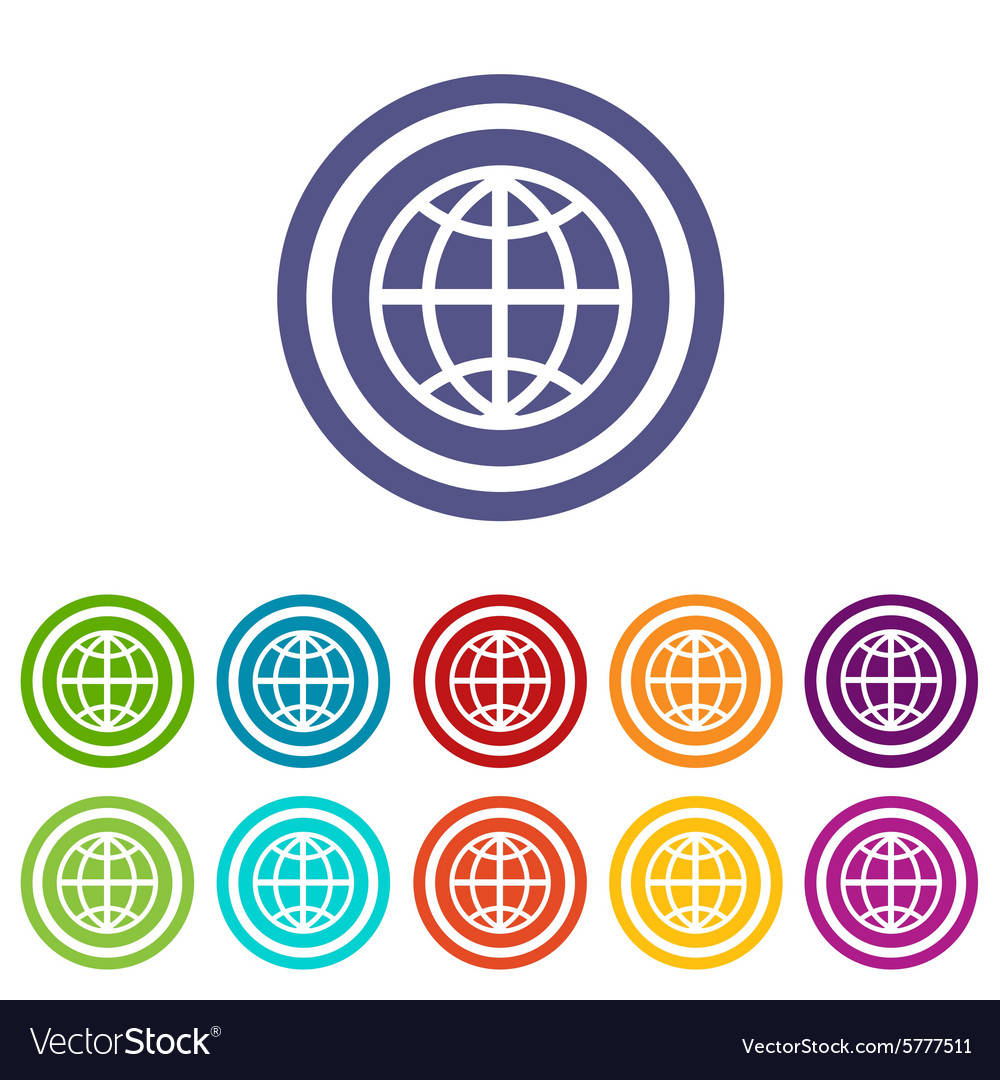Globe signs colored set vector