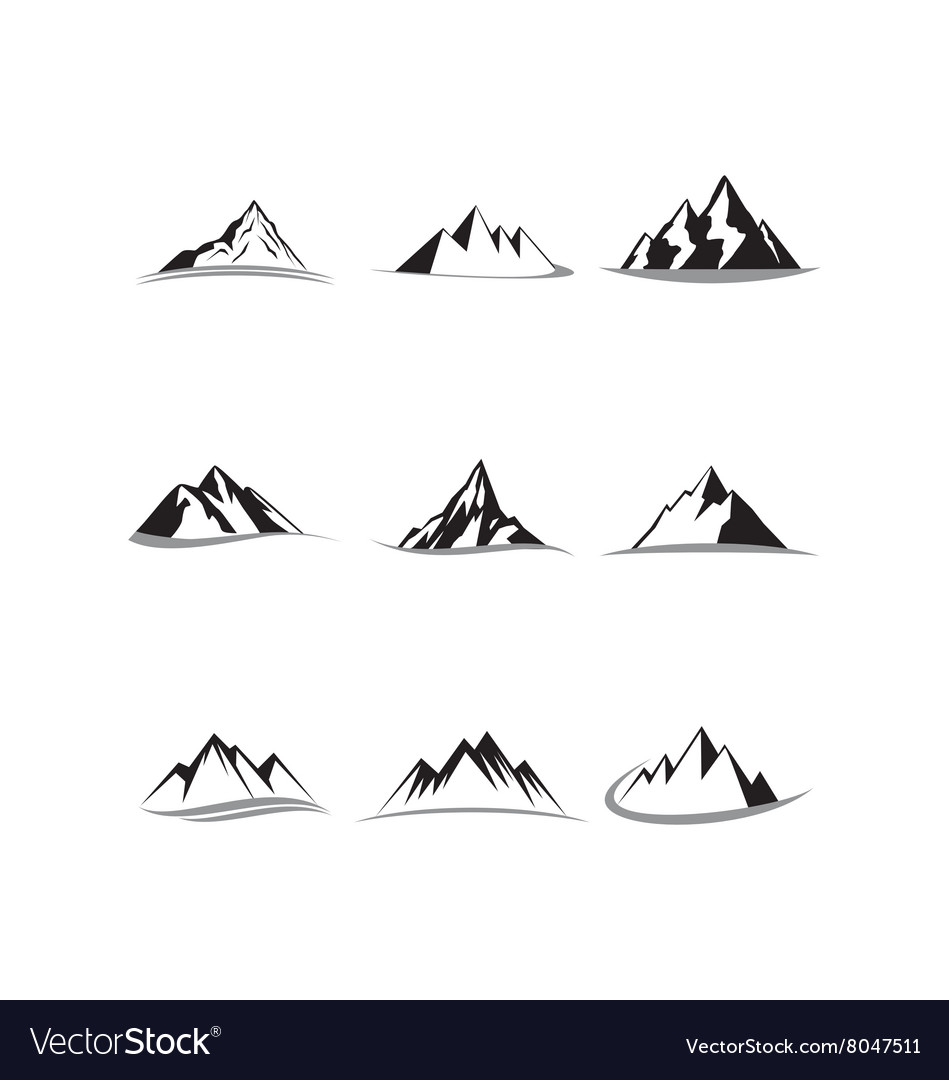 Mountain icon collection set vector