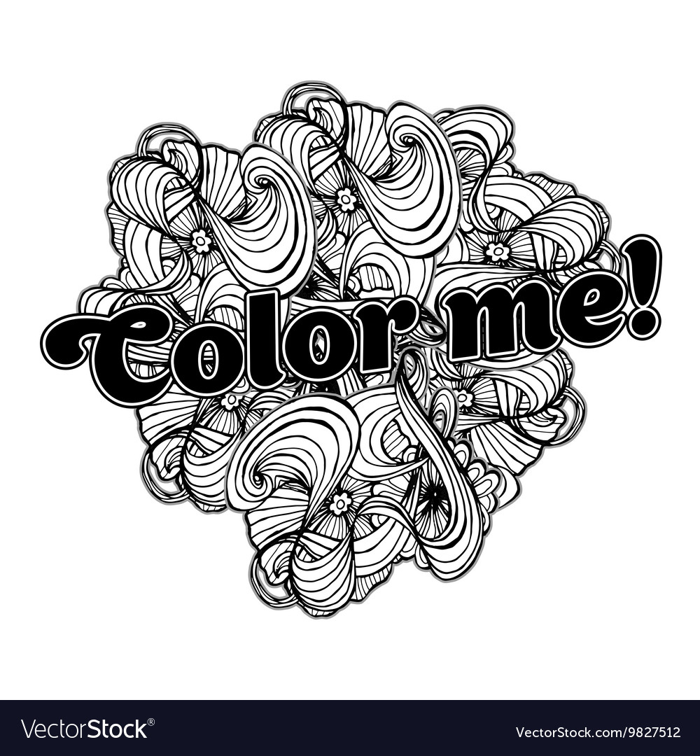 Black doodle style ornament for coloring book vector