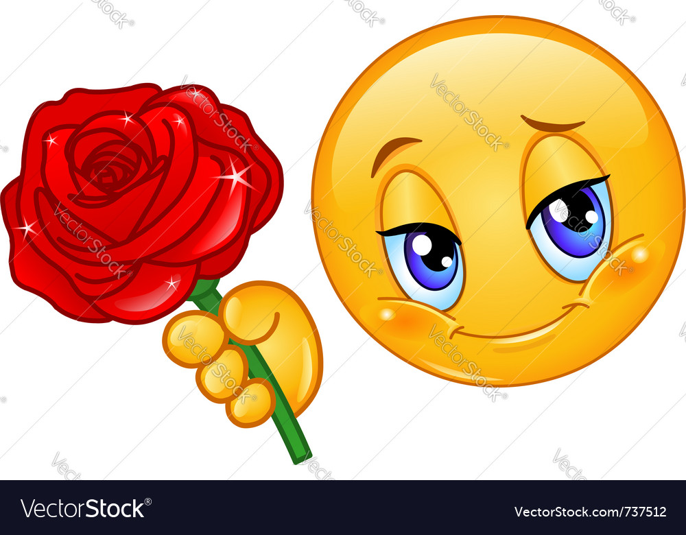 Emoticon with rose vector